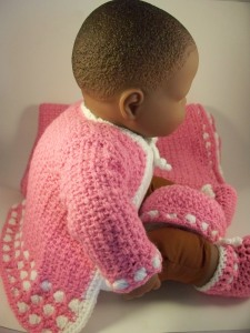 Pink Crochet Layette Set Baby Sweater Hat Booties Blanket