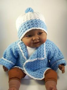 Blue Crochet Baby Jacket Sweater Hat Set