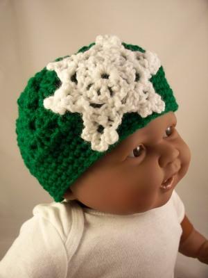 Green Crochet Baby Hat Snowflake