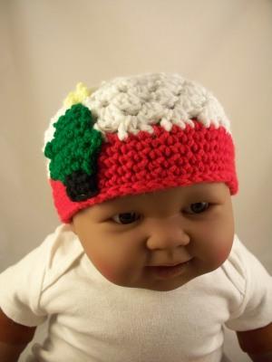 White Crochet Baby Hat Red Trim Christmas Tree