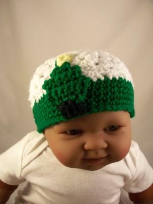 White Crochet Baby Hat Green Trim Christmas Tree