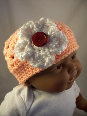 Peach Crochet Baby Hat White Flower