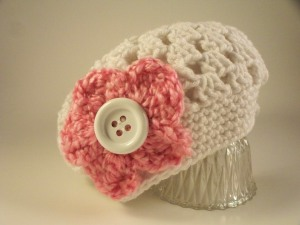 White Crochet Baby Child Hat with Pink Flower