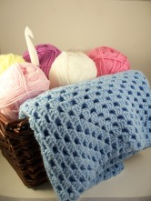 Blue Crochet Baby Blanket