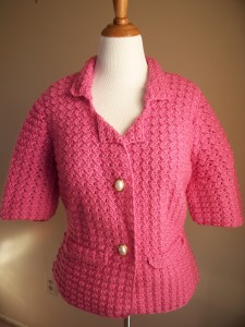 Pink Crochet Short-Sleeve Blazer