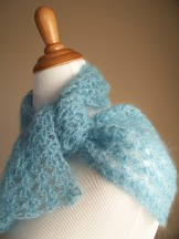 Blue Silk Mohair Crochet Lace Scarf