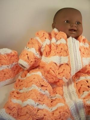 Peach Crochet Baby Bunting Hat Set