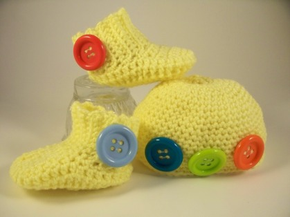 Yellow Crochet Baby Hat Booties Set