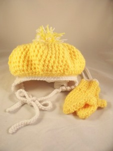 Yellow Crochet Hat Mittens Set