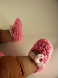 Pink Crochet Layette Set Baby Sweater Hat Booties Mary Jane