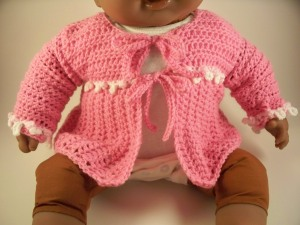 Pink Crochet Layette Set Baby Sweater Hat Booties