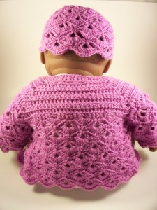Lavender Violet Crochet Layette Set Baby Sweater Hat