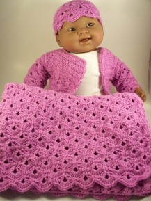 Lavender Violet Crochet Layette Set Baby Sweater Hat Blanket