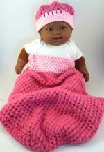 Pink Crochet Baby Cocoon Hat Set