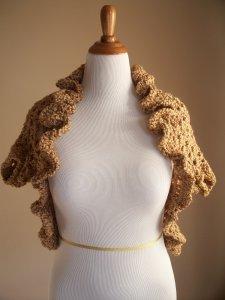 Bronze Brown Crochet Shrug Back