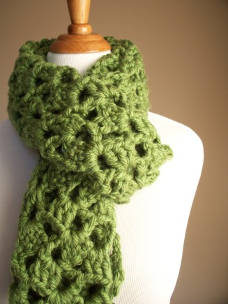Avocado Green Chunky Crochet Scarf