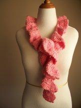 Pink Crochet Ruffle Scarf