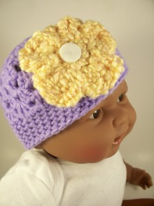 Purple Crochet Baby Hat with Yellow Flower