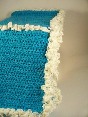 Turquoise Crochet Baby Blanket with Cream Ruffle Trim
