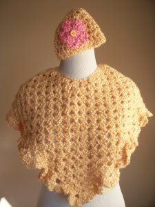 Yellow Crochet Poncho Hat Set