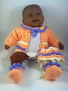 Peach Purple Lavender Crochet Baby Sweater Hat Booties
