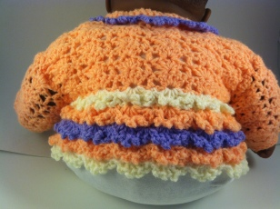Peach Purple Lavender Crochet Baby Sweater