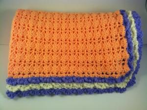 Peach Purple Lavender Crochet Baby Blanket