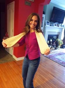 Joy Bauer with crochet scarf