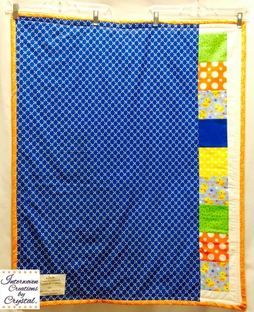 Rubber Duckie Baby Quilt & Pillow Set ~ Back of Quilt