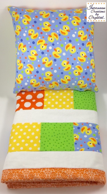 Rubber Duckie Baby Quilt & Pillow Set ~ Back of Pillow