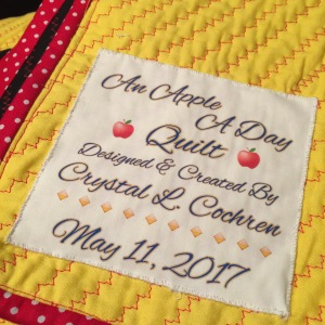 An Apple A Day Quilt ~ Label