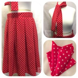Red and White Polka Dot Box Pleated Midi Skirt, Scarf & Pocket Square