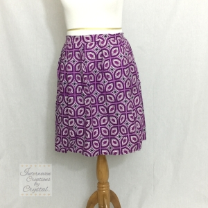 Purple Ankara Box Pleated Midi Skirt