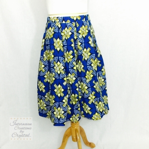 Royal Blue and Yellow Ankara Box Pleated Midi Skirt