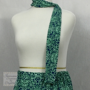 Green and Blue Knit Scarf