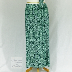 Green and Blue Knit Maxi Skirt