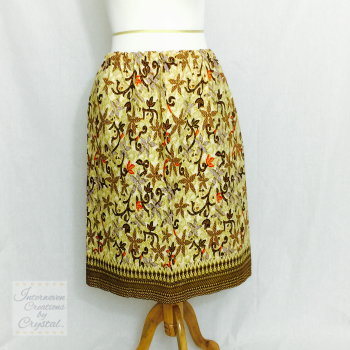 Brown Ankara Border Print Skirt