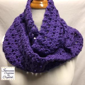 "Purple Crochet Infinity Scarf. 60"" x 8 1/2"". $40.00/"