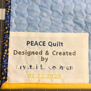 PEACE Quilt ~ Label